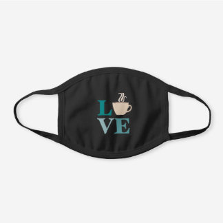 Teal Coffee Love Black Cotton Face Mask