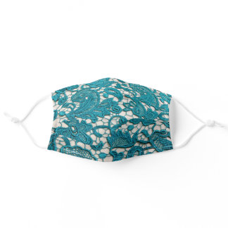 Teal Floral Embroidery Adult Cloth Face Mask