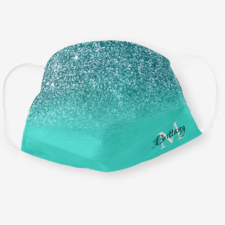 Teal Glitter Ombre Personalized Monogram Cloth Face Mask