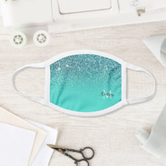 Teal Glitter Ombre Personalized Monogram Face Mask