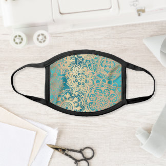 Teal Green and Gold Mandala Pattern Face Mask