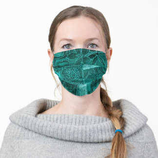 Teal Green Patchwork Fabric Texture Face Mask