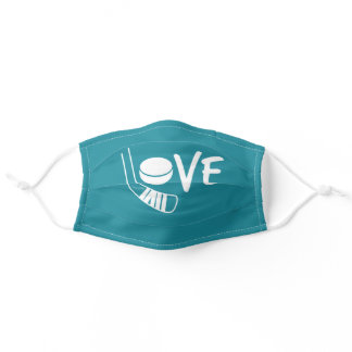 Teal Love Hockey Face Mask with stick and puck