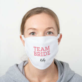 Team Bride Pink White Cotton Face Mask
