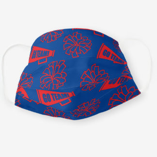 Team School Color Cheerleader Red & Blue Cloth Face Mask