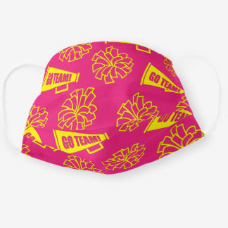 Team School Color Cheerleader Yellow & Pink Cloth Face Mask