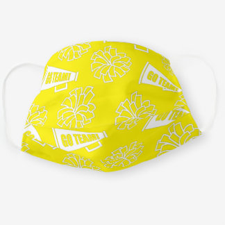 Team School Color Cheerleader Yellow & White Cloth Face Mask