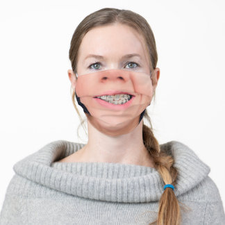 Teeth Braces Crooked Smile - Add Your Photo - Fun Adult Cloth Face Mask