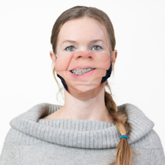 Teeth Braces Crooked Smile - Add Your Unique Photo Adult Cloth Face Mask