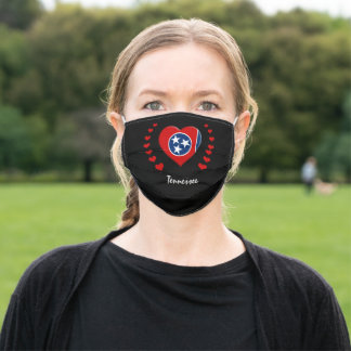 Tennesse Flag & Heart, America States, USA /sports Adult Cloth Face Mask
