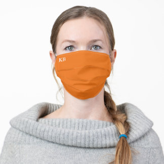 Tennessee Orange w/ White Monogram Text Adult Cloth Face Mask