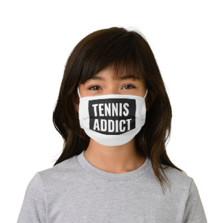 Tennis Addict Simple Black and White Sport Style Kids' Cloth Face Mask