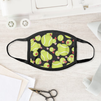 tennis balls pattern love pink red hearts face mask