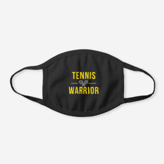 Tennis Warrior Funny Sports Inspirational Quote Black Cotton Face Mask