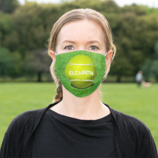 Tennis Yellow Ball On Green Grass Court Background Adult Cloth Face Mask
