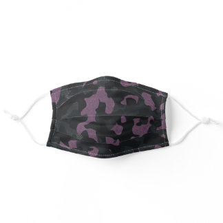 Textured Slate Grey Pink Stylish Camouflage Print Adult Cloth Face Mask