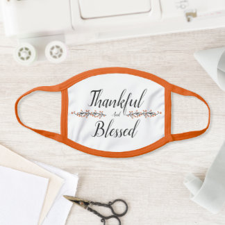 Thankful and blessed face mask