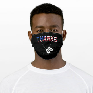 Thanks To All Patriots Memorial Day Dog Tags Adult Cloth Face Mask