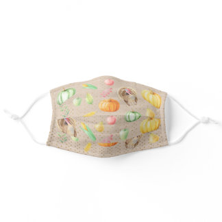 Thanksgiving Holiday Turkey Autumn Fall Gold Dots Adult Cloth Face Mask