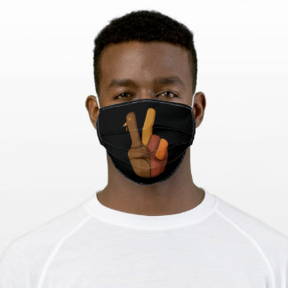 Thanksgiving Turkey Hand Peace Sign Adult Cloth Face Mask