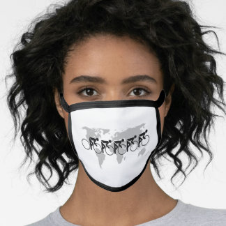 The Bicycle Race No 3 Black On White Face Mask