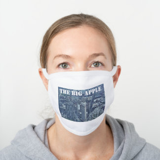 THE BIG APPLE NEW YORK WHITE COTTON FACE MASK