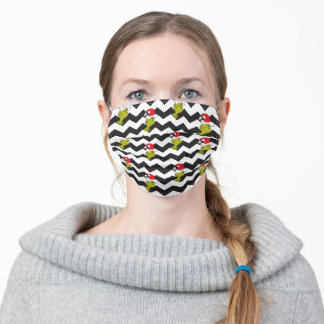 The Grinch | Black & White Holiday Chevron Pattern Adult Cloth Face Mask