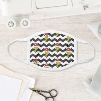 The Grinch | Black & White Holiday Chevron Pattern Face Mask