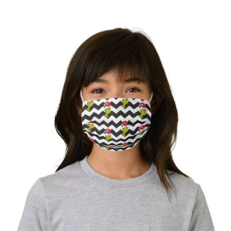 The Grinch | Black & White Holiday Chevron Pattern Kids' Cloth Face Mask