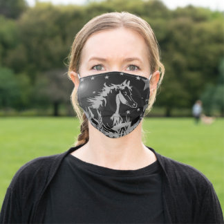The little sweet pony,black  colors adult cloth face mask