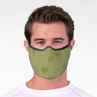 The Look of Bamboo in Olive Moss Green Wood Grain Premium Face Mask