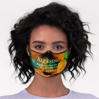 THE LORD BLESS YOU Orange Bokeh Christian Blessing Premium Face Mask