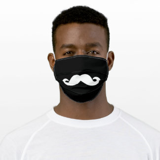 The Mustache White on Black Adult Cloth Face Mask