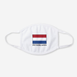 The Netherlands (Dutch) Flag  White Cotton Face Mask