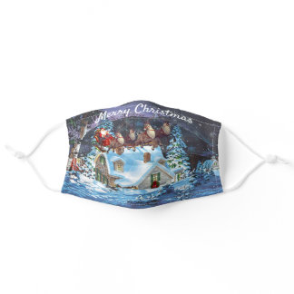 The Night Before Christmas Santa Sleigh & Reindeer Adult Cloth Face Mask