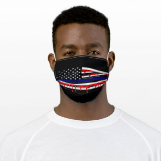 The Real Thin Blue Line Flag Adult Cloth Face Mask