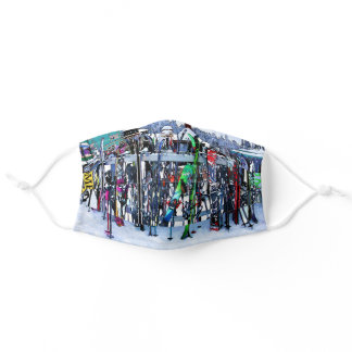 The Ski Party - Skis and Poles Adult Cloth Face Mask