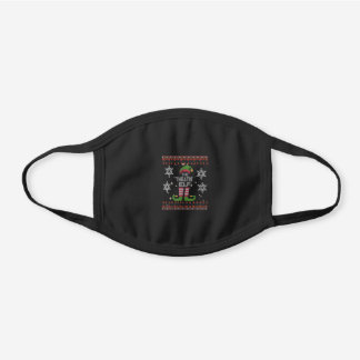 Theatre Elf Ugly Christmas Black Cotton Face Mask