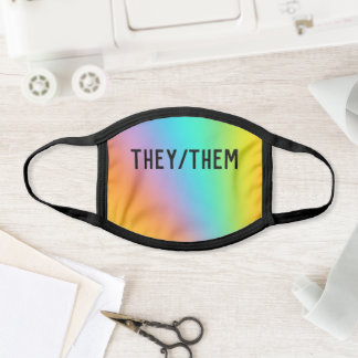 They/Them Pronouns Rainbow Ombre Face Mask
