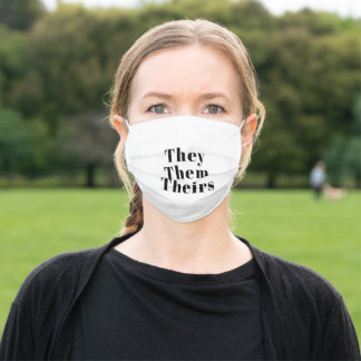 They, Them, Theirs Pronouns Lgbtq black white Adult Cloth Face Mask