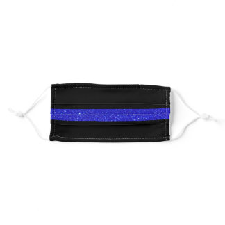 Thin Blue Line Glitter Adult Cloth Face Mask