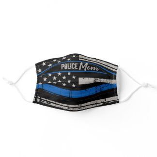 Thin Blue Line - USA American Flag - Police Mom Adult Cloth Face Mask