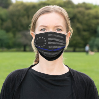 THIN BLUE LINE Vintage Betsy Ross Flag Adult Cloth Face Mask
