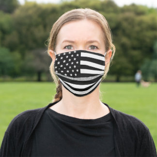Thin Gray Line Glitter Adult Cloth Face Mask