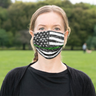Thin Green Line Camo Adult Cloth Face Mask