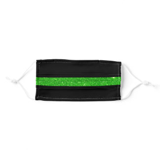 Thin Green Line Glitter Adult Cloth Face Mask