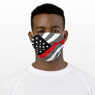 Thin Red Line Firefighter Flag Adult Cloth Face Mask