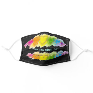 """""""This Too Shall Pass"""" Colorful Hearts on Black Adult Cloth Face Mask"""