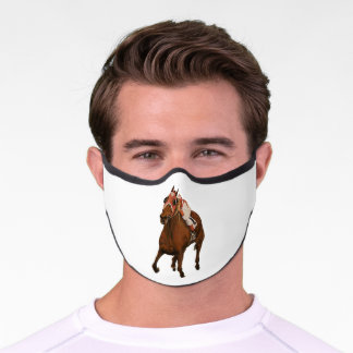 Thoroughbred Equine Wins Horse Race Premium Face Mask