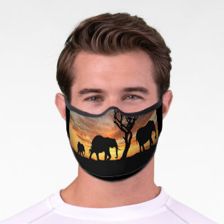Three African Elephants in Africa at Sunset Premium Face Mask